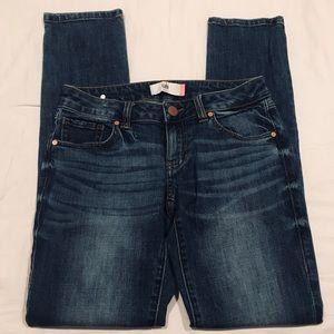 Cabi skinny mid wash sandblasted jeans size 0